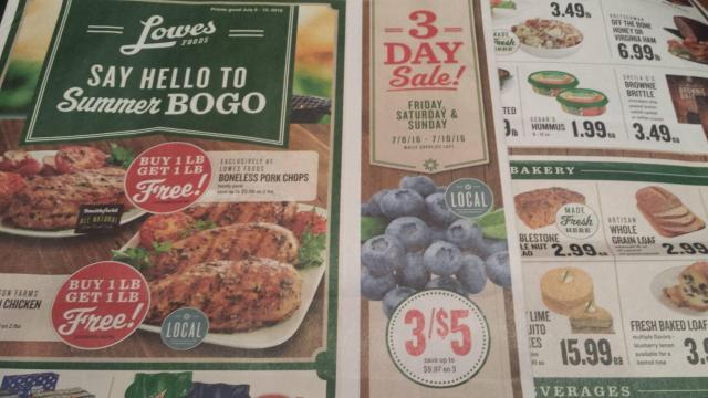 Lowes Foods 3-Day Sale 7-8-16
