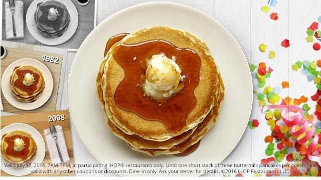 IHOP pancakes for 58 cents on July 12, 2016
