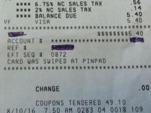 Triples receipt