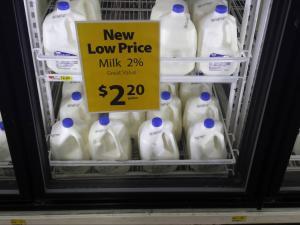 Milk at Walmart for $2.20 per gallon