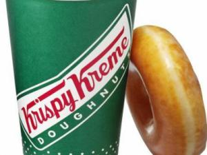 Krispy Kreme doughnut and coffee