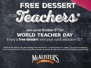 McAlister's Deli World Teacher Day (photo via McAlister's Deli)