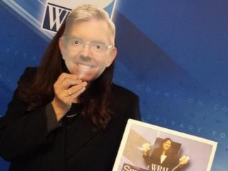 Faye with a very convincing Greg Fishel mask.