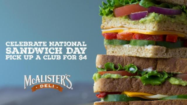 McAlister's Deli National Sandwich Day (photo via prnewswire.com)