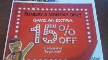 IMAGE: Target Cyber Week deals: 15% off TODAY