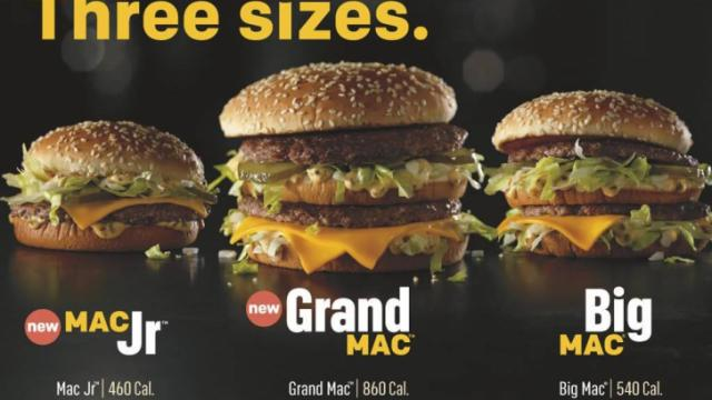 McDonald's Big Mac sizes