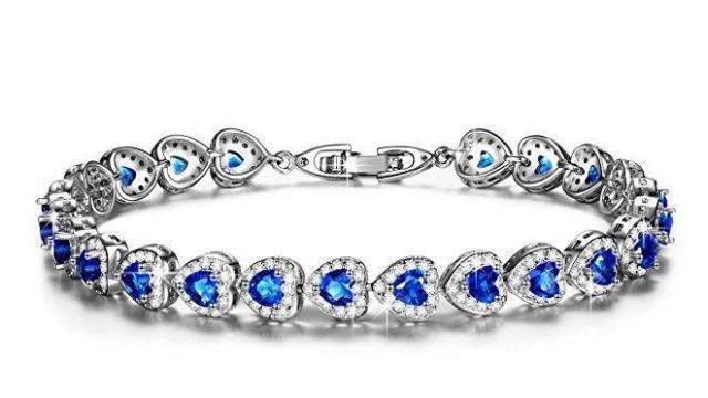 Heart Shaped Sapphire Tennis Bracelet