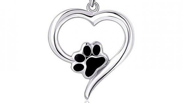 Sterling Silver Heart Puppy Paw Pendant Necklace