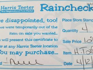 Harris Teeter rain check