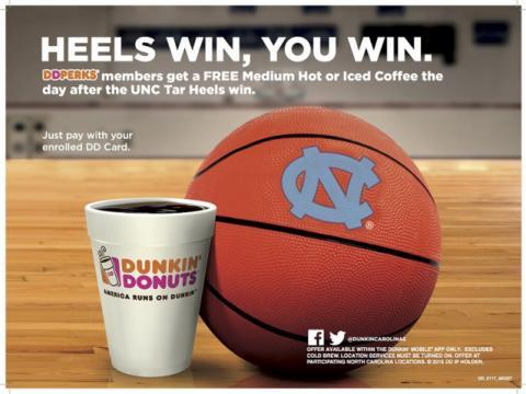 Dunkin Donuts Tar Heels promotion