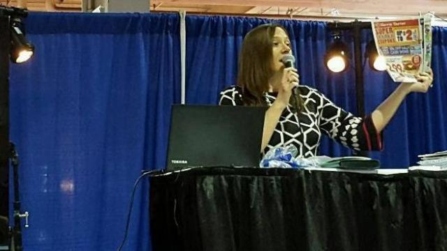 Faye teaching at the Southern Women's Show 2016