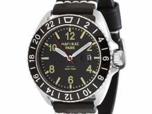 BUREI black leather strap wrist watch