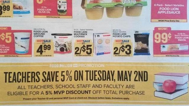 Food Lion Teacher Appreciation Discount
