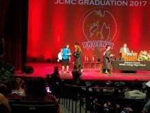 Hannah getting her diploma