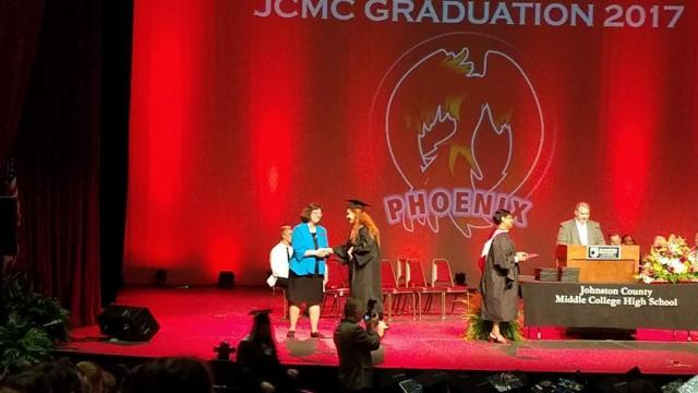 Hannah getting her diploma