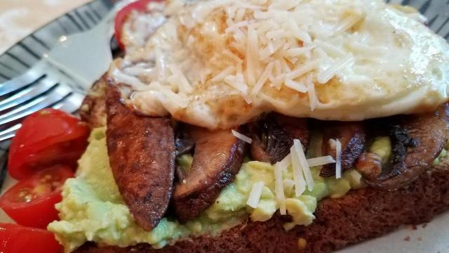 Avocado Toast with Portabello Mushrooms, Parmesan & Egg