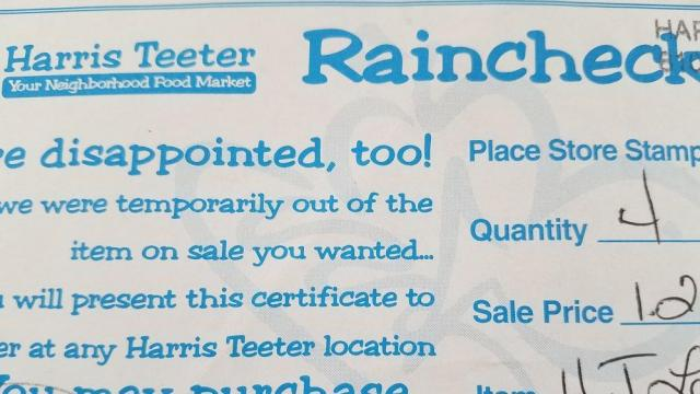 Harris Teeter Rain Check