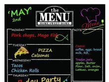 Magnetic Refrigerator Dry Erase Chalkboard Menu Planner and Organizer