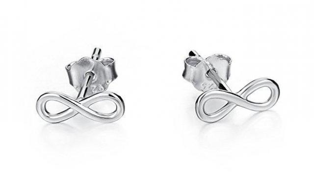 LUHE Sterling Silver Infinity Stud Earrings