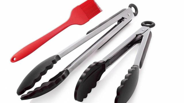 Stainless-steel Silicone Kitchen Tongs 2 Pack and Basting Brush