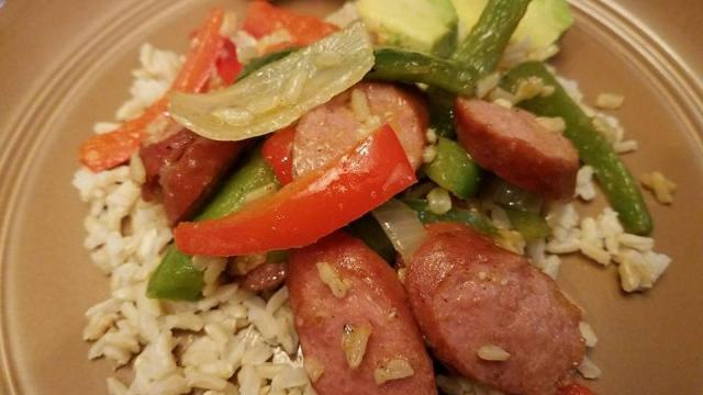 Turkey sausage, peppers and onions