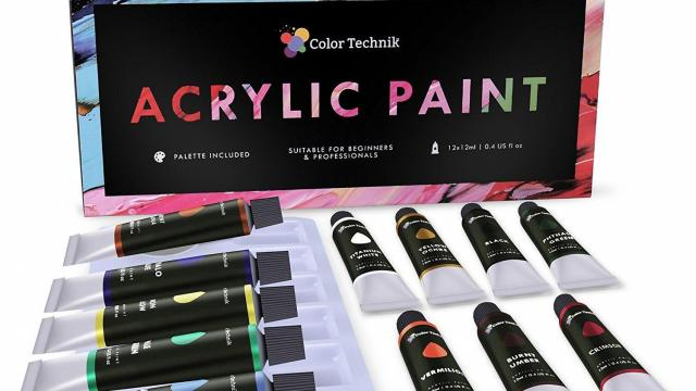 Acrylic Paint Set With 12 Tubes and Palette