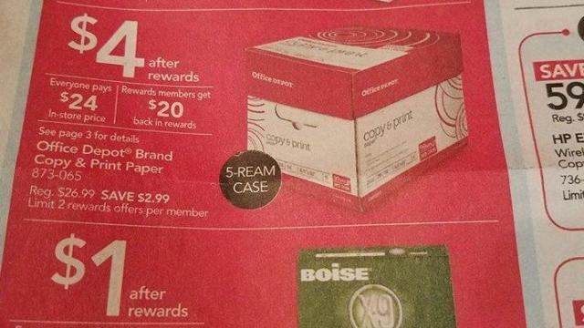 Office Depot paper deals