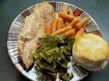 Italian chicken with carrots, collard greens and a biscuit