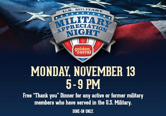 golden corral free dinner for military monday wralcom - Is Golden Corral Open On Christmas Day 2014