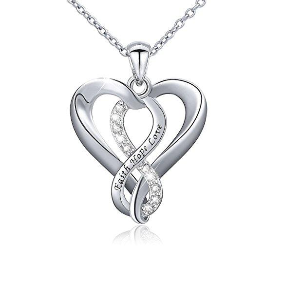 Sterling Silver Infinity Faith Hope Love Necklace 82 Off Wral