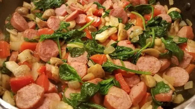 Turkey sausage, spinach, red peppers, mushrooms, onions