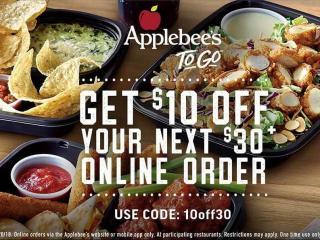 Applebee S Coupon 10 Off 30 Online Order Wral Com
