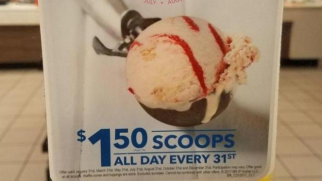 Baskin-Robbins ice cream scoops $1 50 on May 31 :: WRAL com