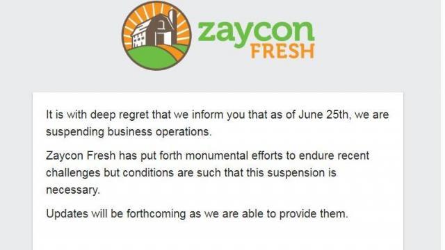 Zaycon website closing details (photo courtesy zayconfresh.com)
