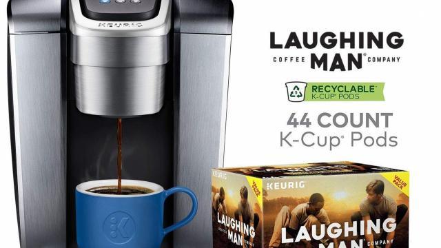 Keurig K-Elite Coffee Maker and Laughing Man K-Cup Pods