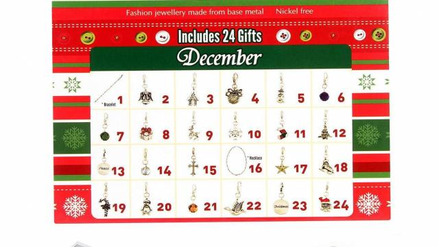 Christmas Advent Calendar With 22 Charms Bracelet And Necklace Only