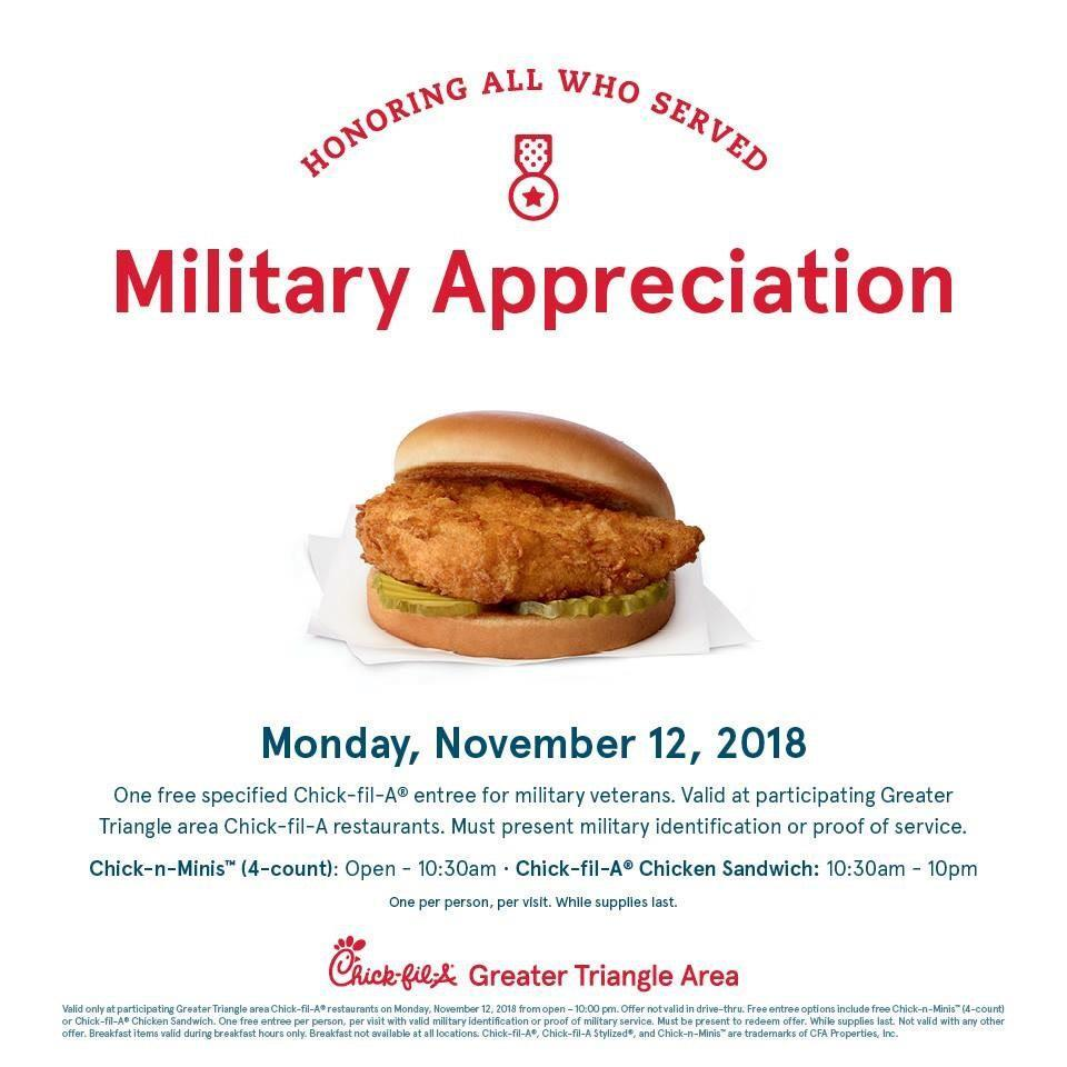 Veterans Day 2018: Free meals & discounts :: WRAL com