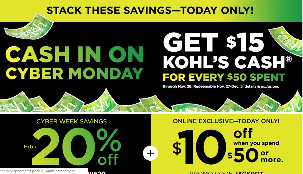 0860a608d Kohl's Cyber Days Sale: $15 Kohl's Cash + 20% off coupon + $10 off $50  coupon TODAY!! :: WRAL.com