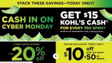 IMAGES: Kohl's Cyber Days Sale: $15 Kohl's Cash + 20% off coupon + $10 off $50 coupon TODAY!!