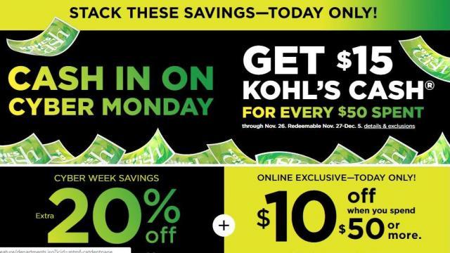ab13ec036e5 Kohl s Cyber Days Sale   15 Kohl s Cash + 20% off coupon +  10 off ...