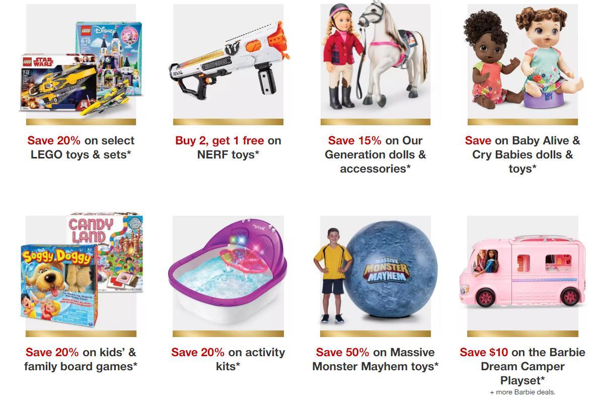 Target toy sale: Nerf, Legos, Our Generation dolls, bikes
