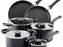 Farberware Neat Nest 10 pc. Batterie de cuisine antiadhésive en aluminium, peu encombrante