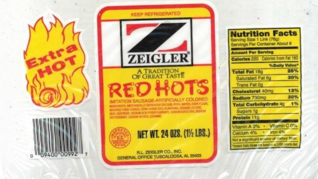 recall red hots sausage links may contain metal pieces wral com