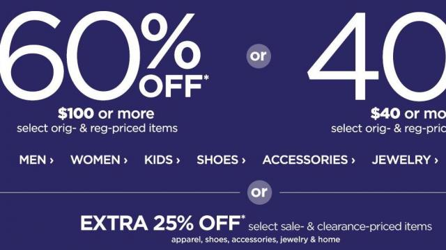 97d4226c58e3f JCPenney  60% off  100 or 40% off  40 purchase through Thursday ...