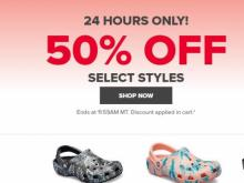 4c91c16fe Crocs Shoes is offering a 50% off sale on select shoes for 24 hours!