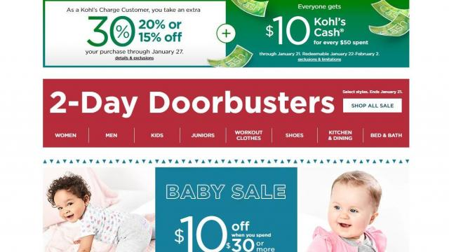 Kohls Coupons January 2019 Calendar Kohl's: 30% off & 20% off coupons, $10 Kohl's Cash through TODAY