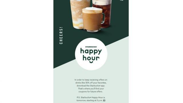 Starbucks: 50% off any handcrafted espresso beverage