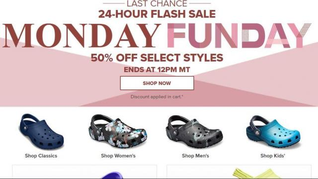 a0d35e159d9670 Crocs Shoes  50% off sale through 2 pm Monday    WRAL.com