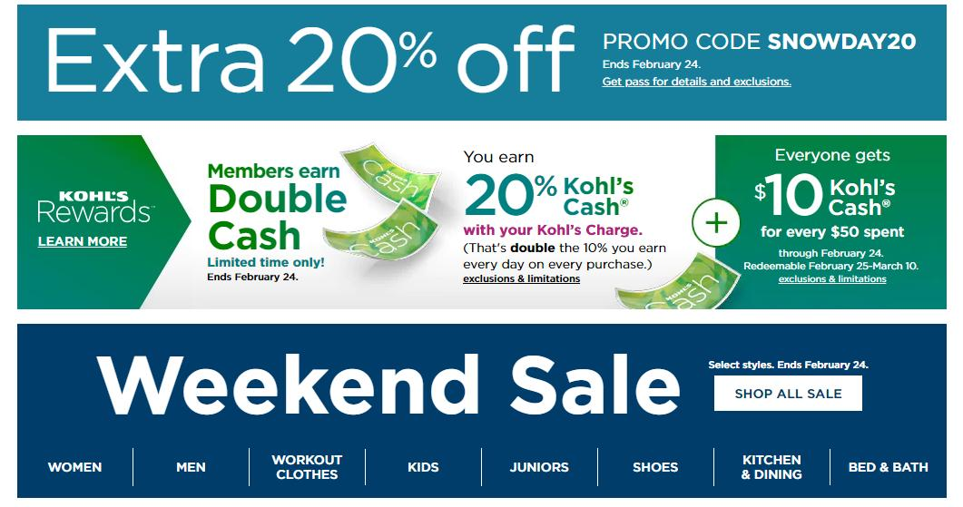 Kohl S New 20 Off Coupon 10 Kohl S Cash 10 Off