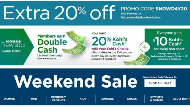 16633c70135ca Kohl's: New 20% off coupon + $10 Kohl's Cash + $10 off swimwear ...